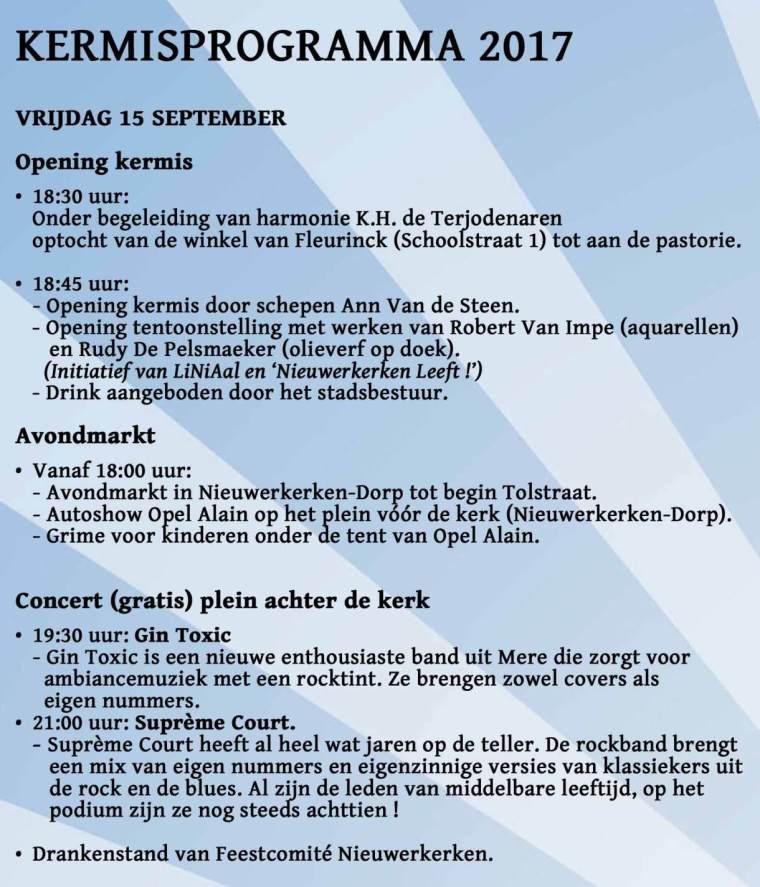 Kermis Nieuwerkerken 2017 - vrijdag 15 september