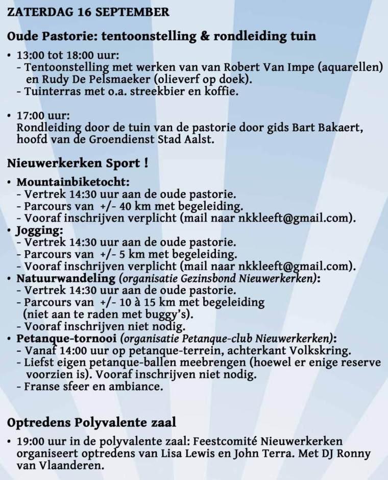 Kermis Nieuwerkerken 2017 - zaterdag 16 september
