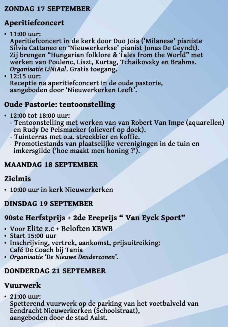 Kermis Nieuwerkerken 2017 - zondag 17 september