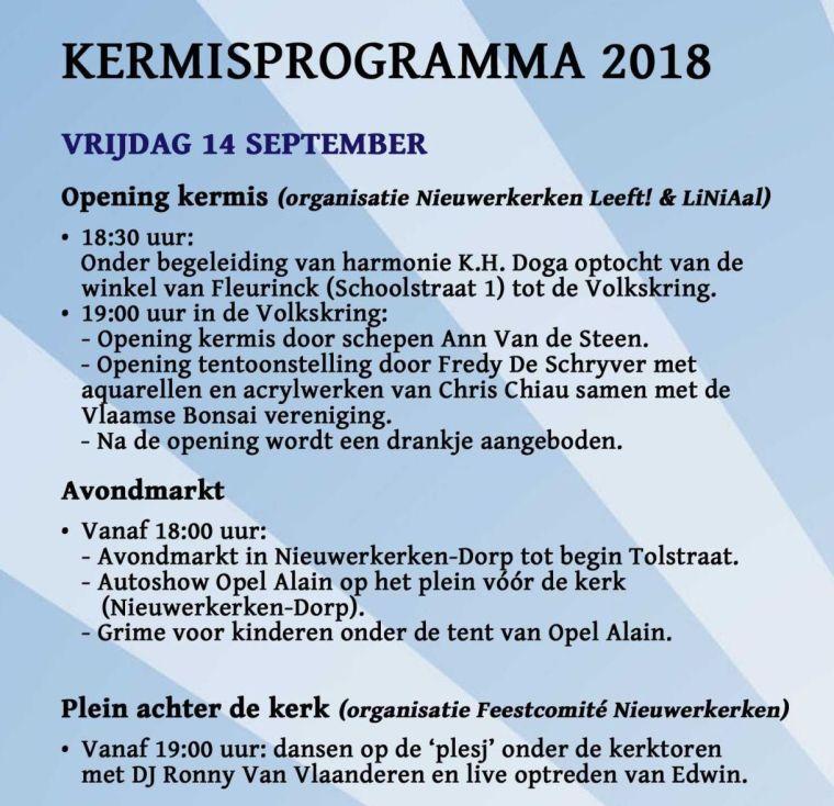 Kermisprogramma 2018 - vrijdag 14 september