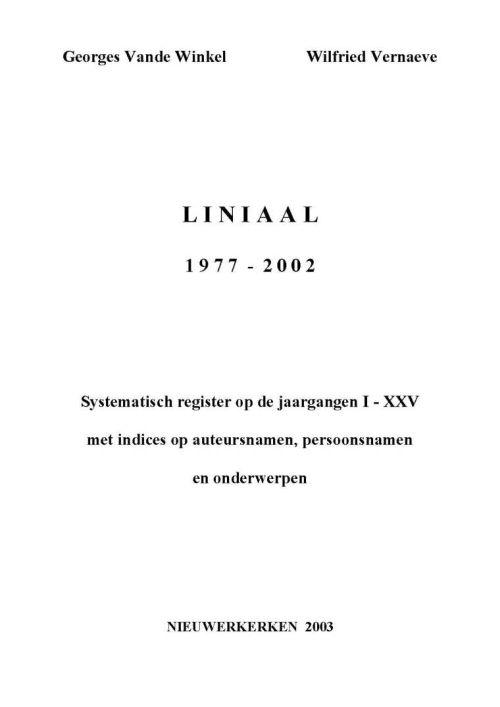 Systematisch register LiNiAal '1977-2002'