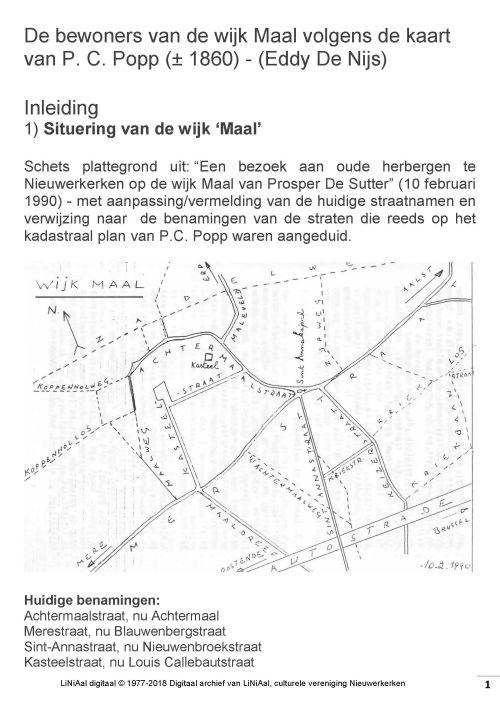 De bewoners van de wijk Maal volgens de kaart van P. C. Popp (Eddy De Nijs) Deel 1, 2 en 3